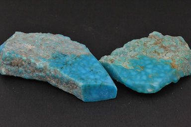 Kingman birdseye rough turquoise samples
