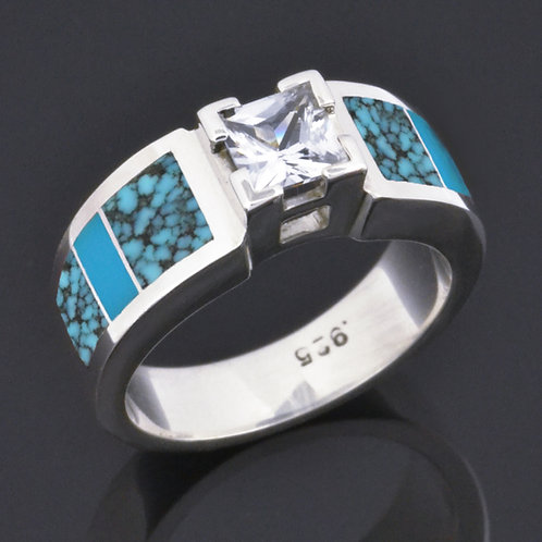 Moissanite and Turquoise Engagement Ring by Hileman