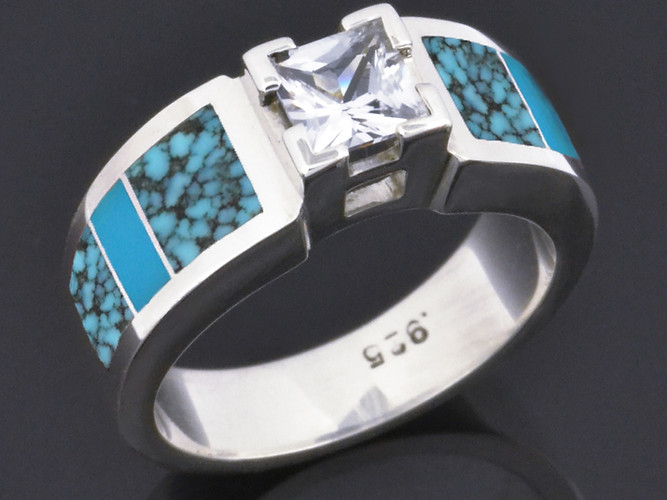 Moissanite and turquoise engagement ring