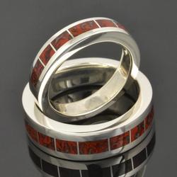 Dinosaur Bone Wedding Ring Set in Sterling Silver by Hileman