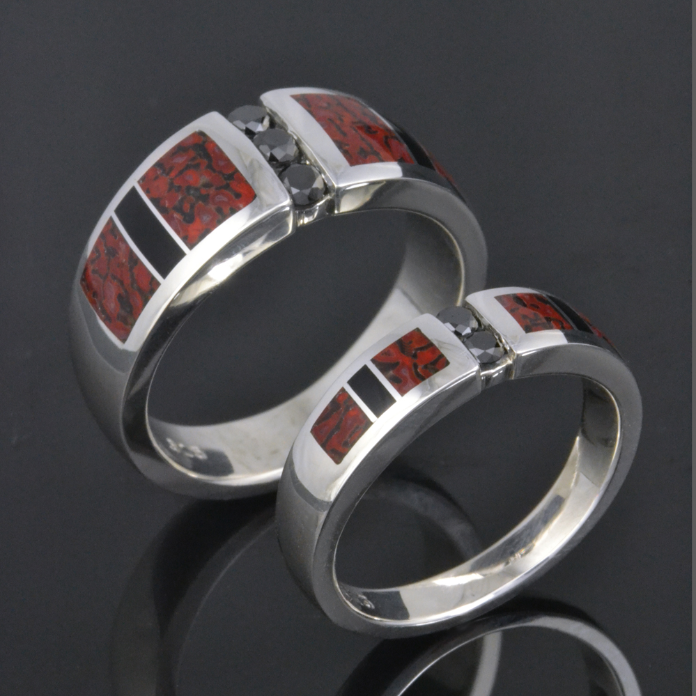 Dinosaur Bone Wedding Ring Set with Black Diamonds