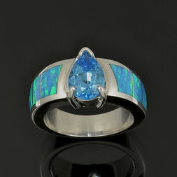 Topaz and lab created opal engagement ri