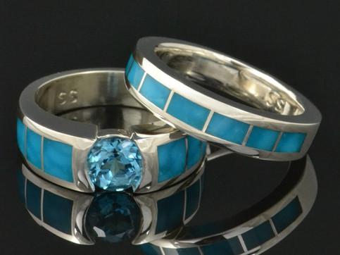 Topaz and birdseye turquoise engagement