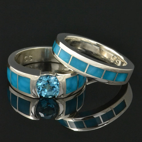 Topaz and Turquoise Engagement Ring and Wedding Ring Set