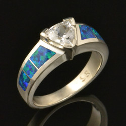 Trillion White Sapphire and Lab Opal Engagement Ring