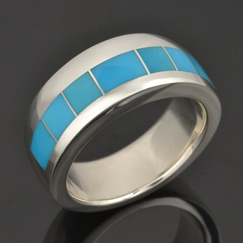 Men's Turquoise Wedding Ring in Sterling Silver