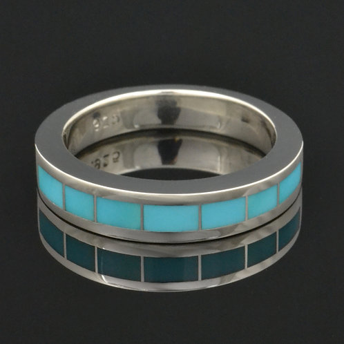 Turquoise Wedding Ring in Sterling Silver