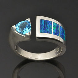 Trillion Topaz and Lab Opal RIng