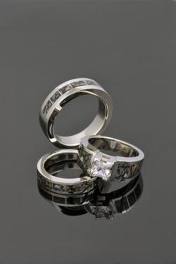 White gold dinosaur bone ring set 1
