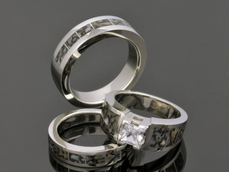 Dinosaur Bone Rings in 14k White Gold