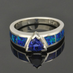 Lab opal ring with lab created blue sapphire set in sterling silver