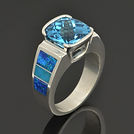 Lab opal ring with topaz and turquoise
