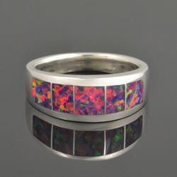 Fiery Lab Opal Ring in Sterling Silver