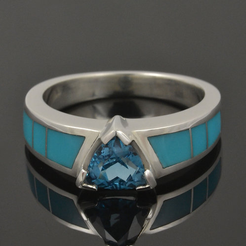 Topaz and Turquoise Engagement Ring in Sterling Silver