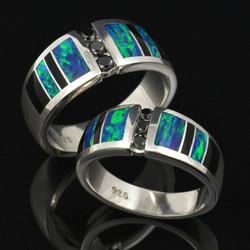 Black Diamond and Lab Opal Wedding Set