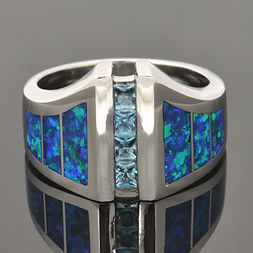 Lab Opal Ring with Blue Topaz in Sterlin