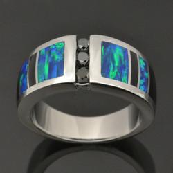 Lab opal and black diamonds