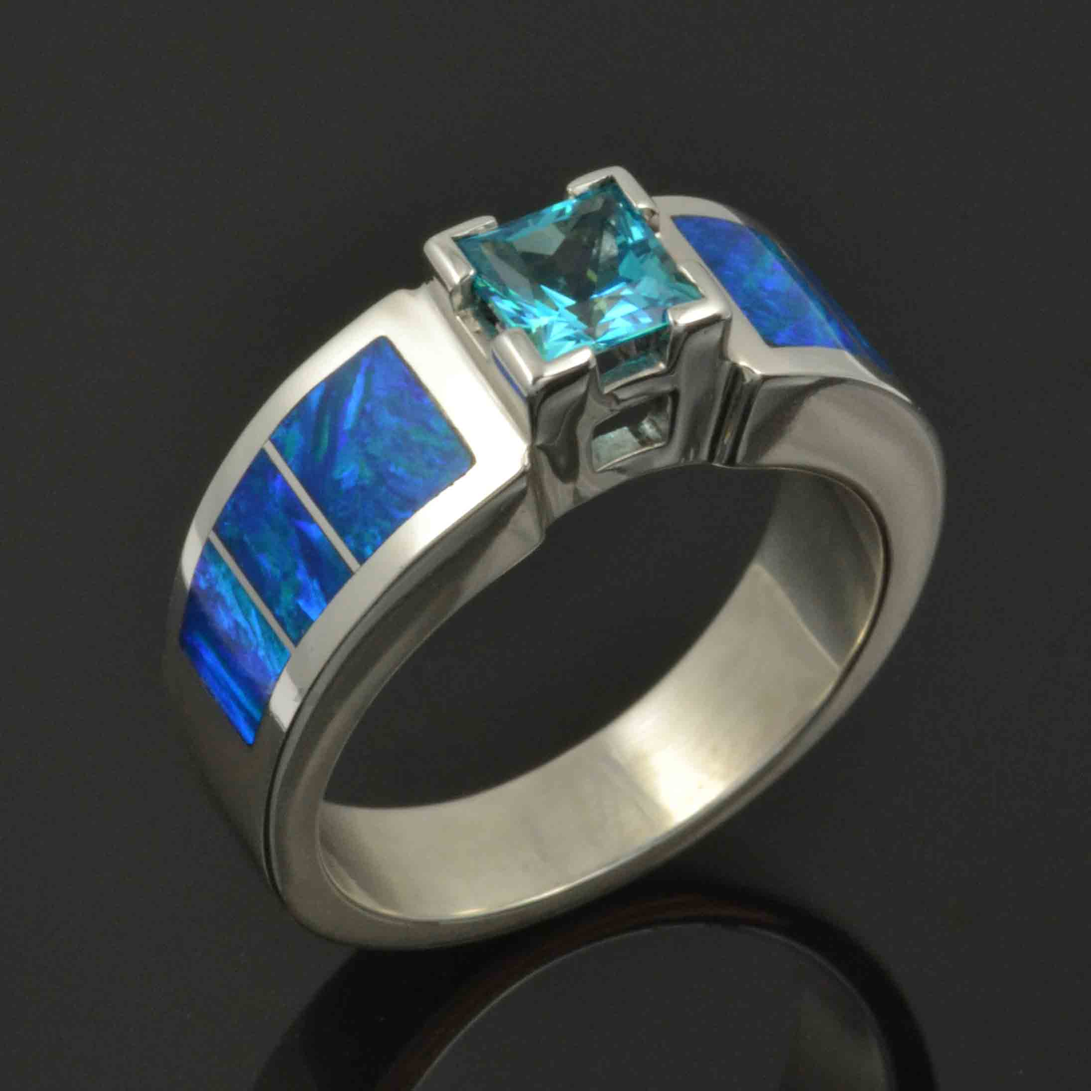 Topaz and lab opal engagement ring in st