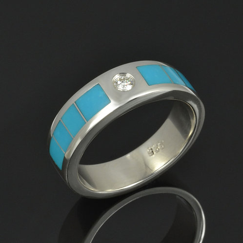 Diamond and Turquoise Wedding Band