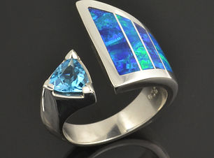 Lab Opal Engagement or Wedding Ring with lab created opal and blue topaz