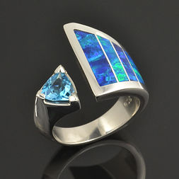 Lab opal ring with trillion blue topaz