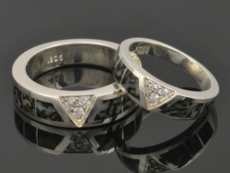 New Gray Dinosaur Bone Wedding Ring Set