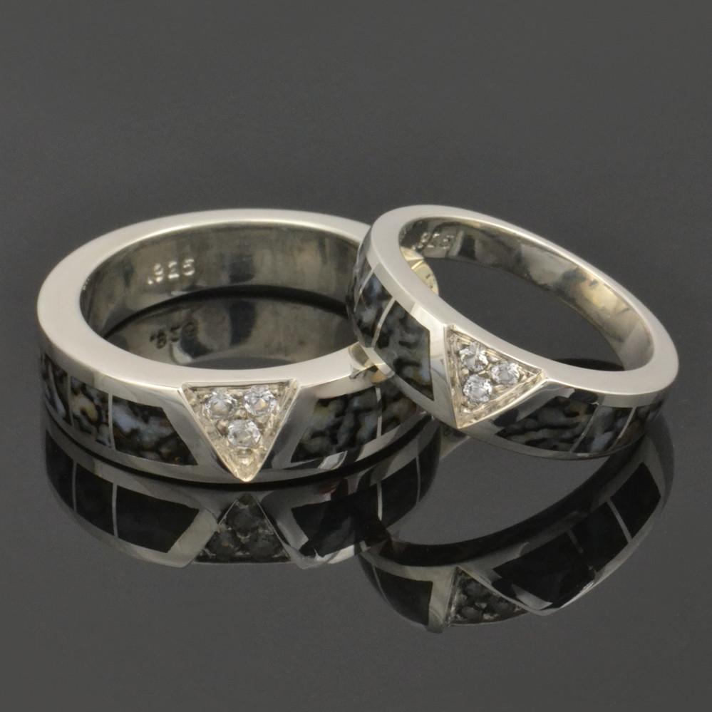 Dinosaur Bone Wedding Ring Set with White Sapphires Set in Sterling Silver.
