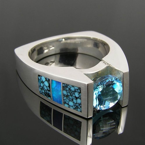 Topaz and Spiderweb Turquoise Ring in Sterling Silver