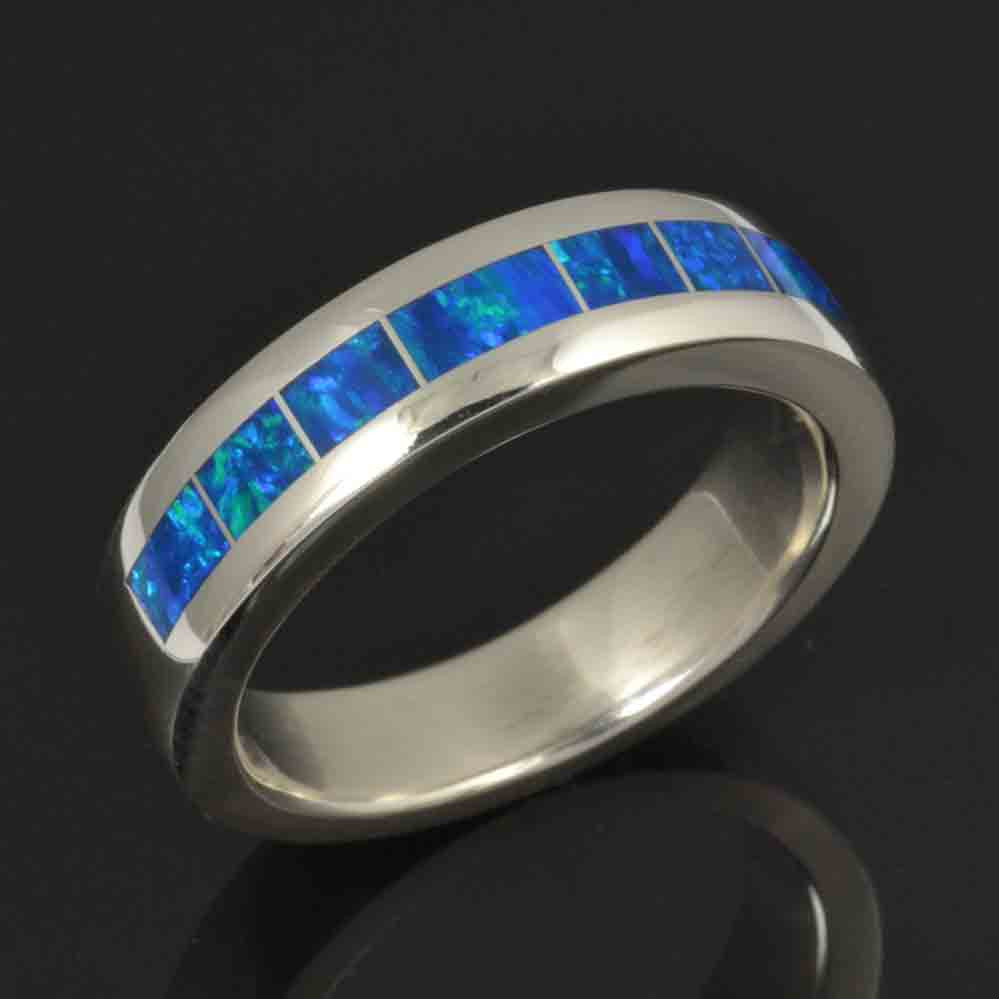 Blue Lab Opal Wedding Band in Sterling Silver