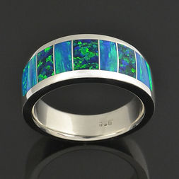 Wide band inlaid with lab created opal