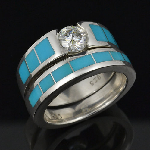 Moissanite and turquoise bridal set in sterling silver