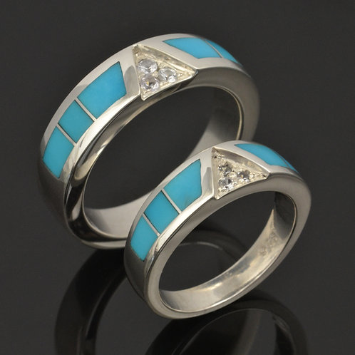 Sleeping Beauty Turquoise Wedding Ring Set with Sapphires