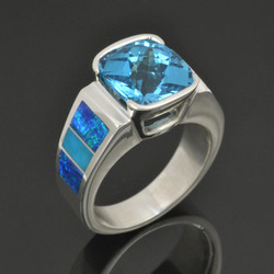 Lab Opal Ring with Turquoise and Blue Topaz in Sterling Silver