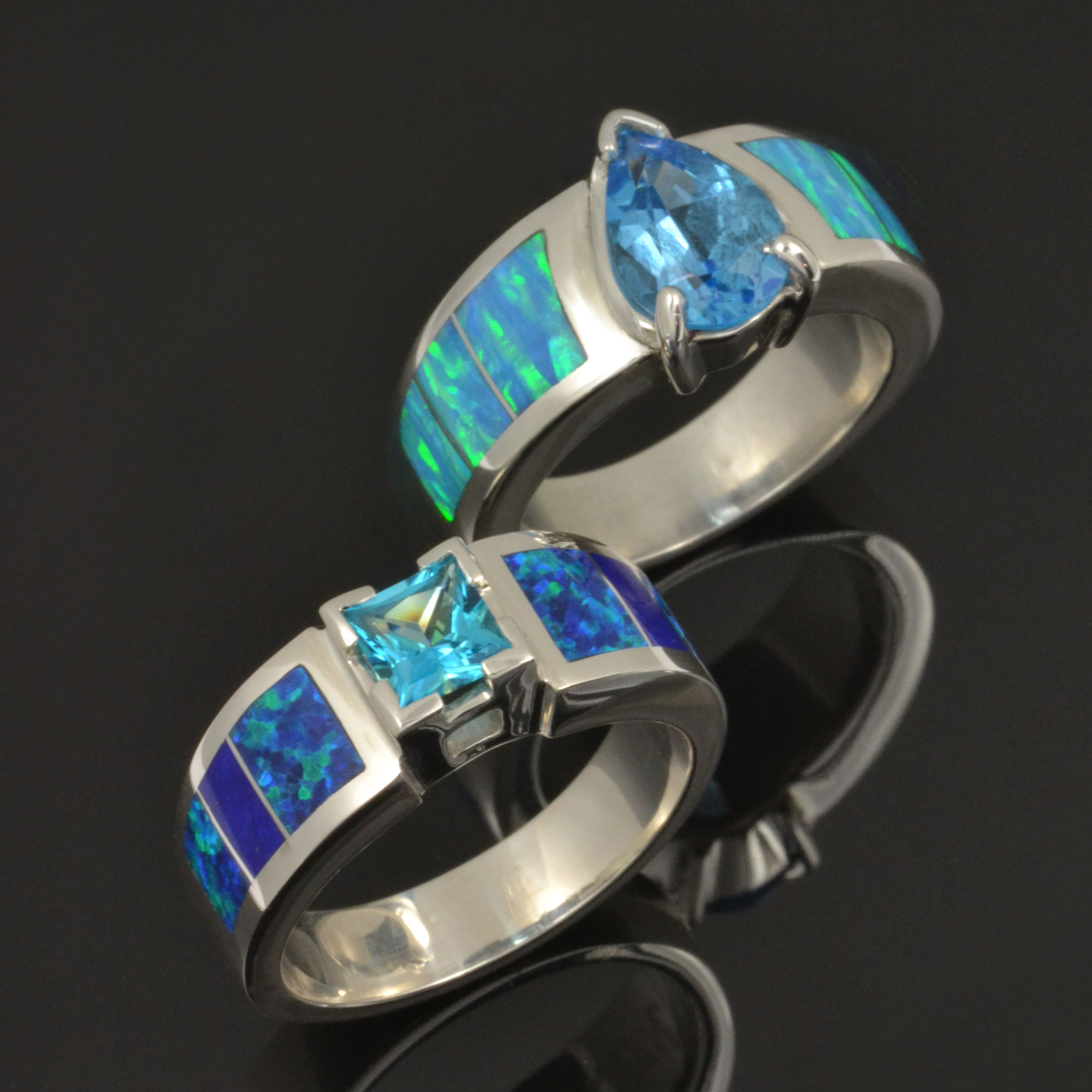 Lab Opal Rings in Sterling Silver
