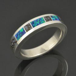 Lab Opal Ring with Gray Dinosaur Bone