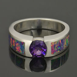Lab opal engagement ring with amethyst