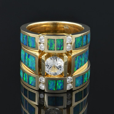 Australian opal engagment ring, wedding band and anniversary band by The Hileman Collection.
