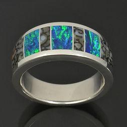 Dinosaur Bone and Lab Opal Ring