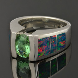 Lab created opal ring with color change Alexandrite