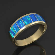 Lab opal ring in 14k yellow gold by Hile