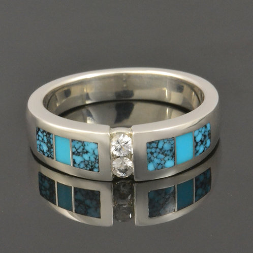 White Sapphire, Spiderweb and Turquoise Wedding Ring