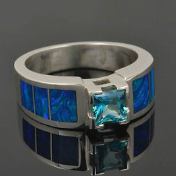 Lab created opal engagement ring with bl
