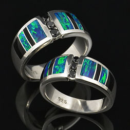 Lab created opal wedding ring set with black diamonds