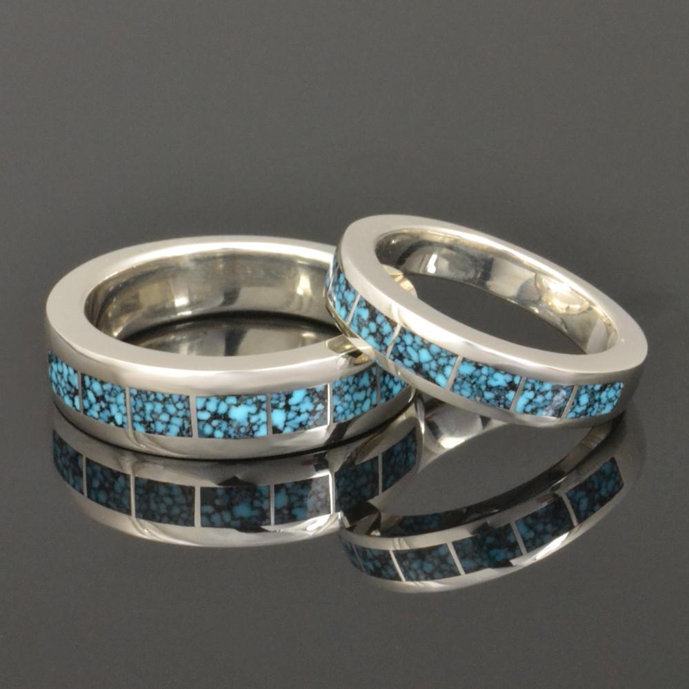 Spiderweb turquoise wedding ring set in