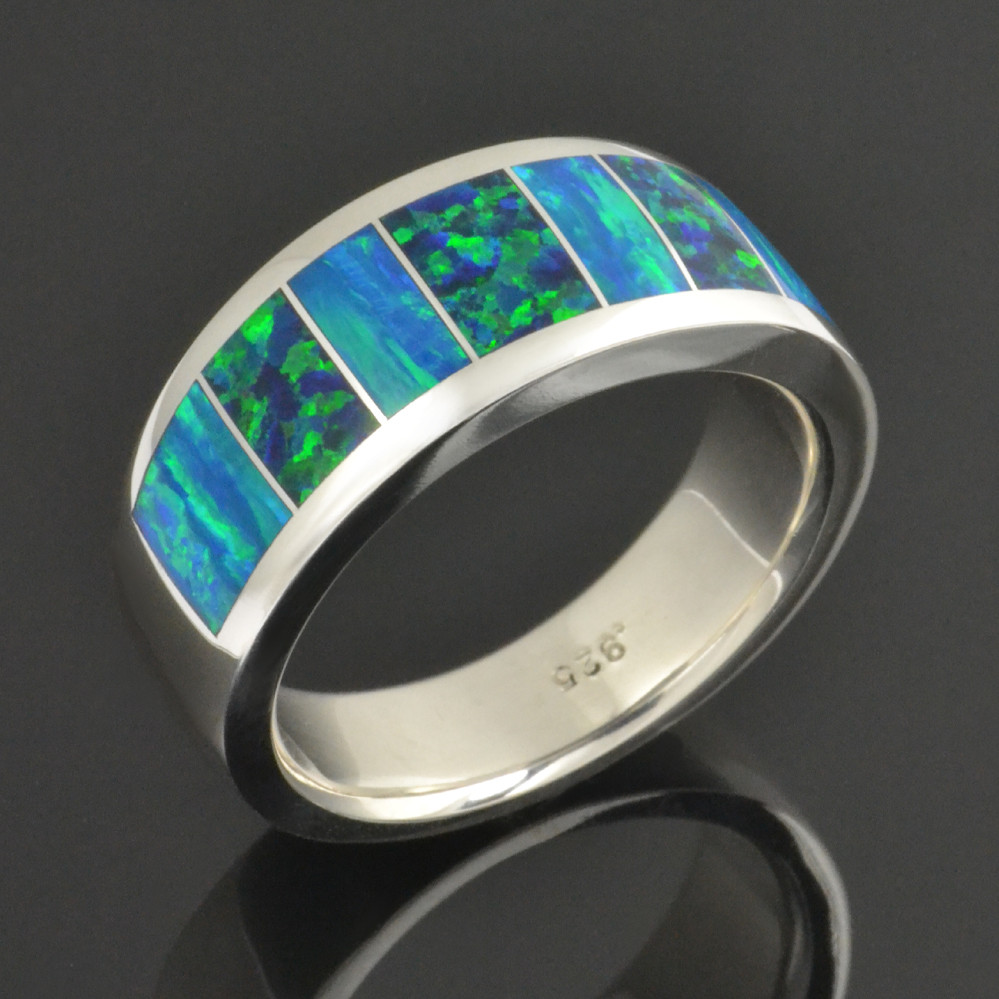 Men's lab opal ring in sterling silver by Hileman
