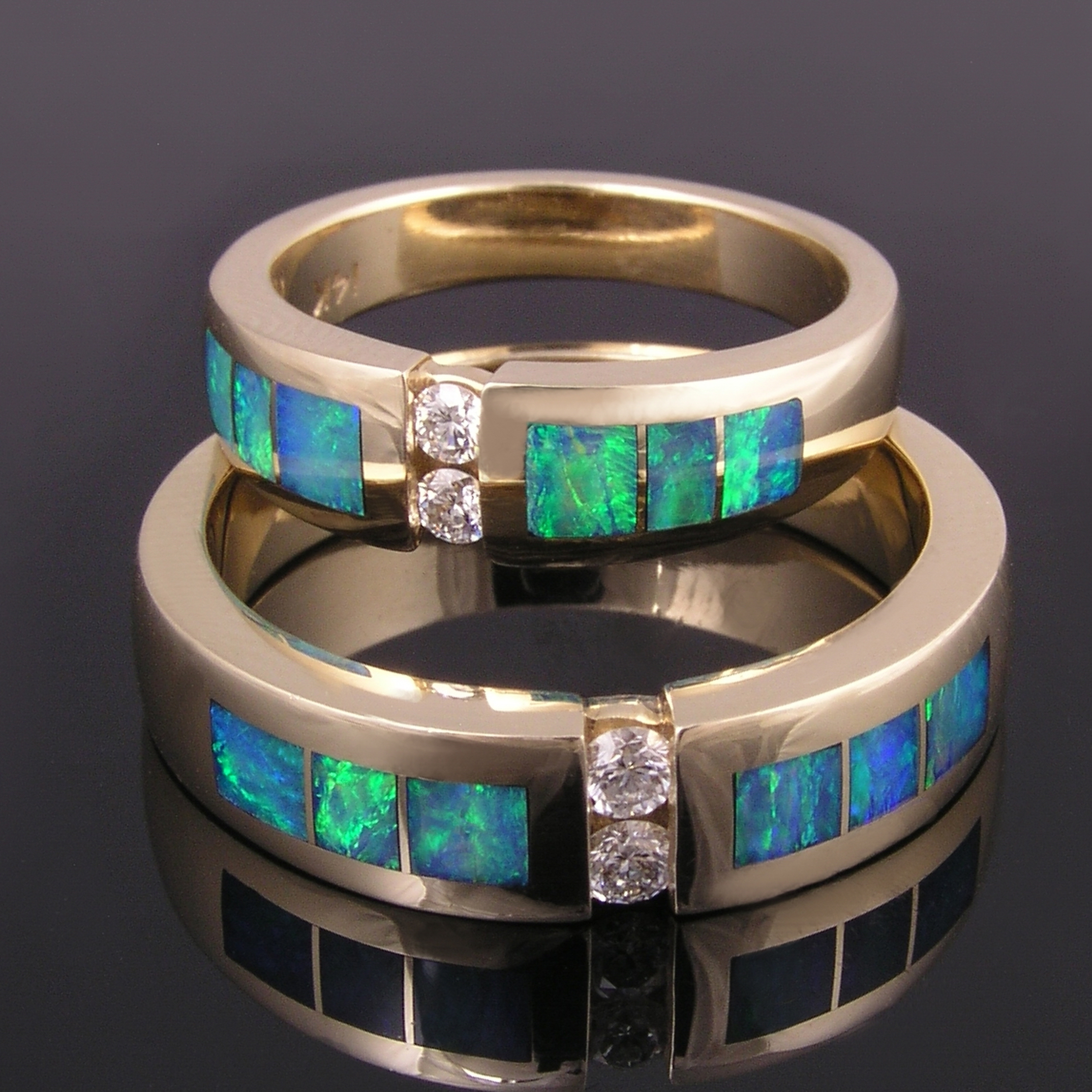 Australian opal inlay rings with diamond accents in 14k gold by Hileman