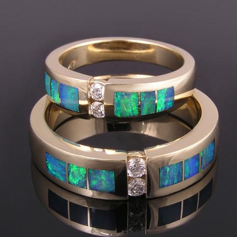 Australian Opal Wedding Ring Set