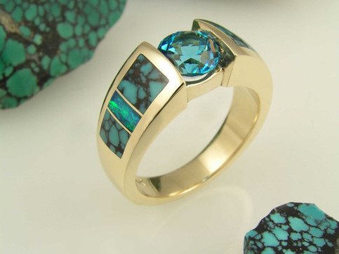Turquoise wedding band in gold