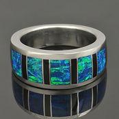 Lab opal ring with black onyx