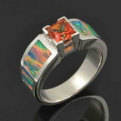 Orange topaz and lab opal ring in sterli